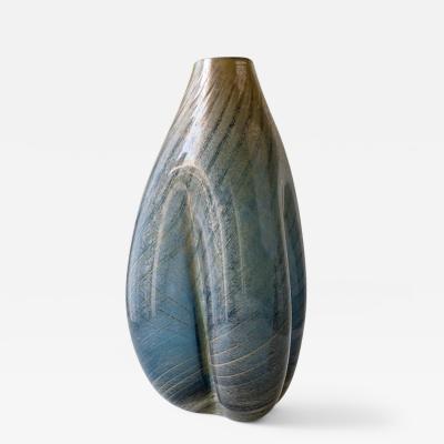 Daniela Busarello MOSE BLU GRIGIO ORO Hand Blown Glass Vase
