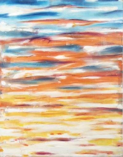 Daniele Righi Ricco Burning Sky in Sunset Time Abstract Mixed Media Painting on Canvas Signed