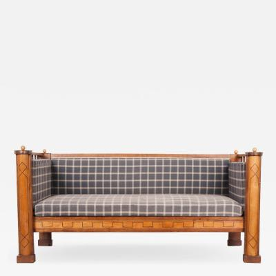 Danish 19th Century Inlaid Satinwood Settee