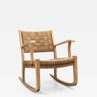 Danish Cord and Beech Rocking Chair Denmark 1940s