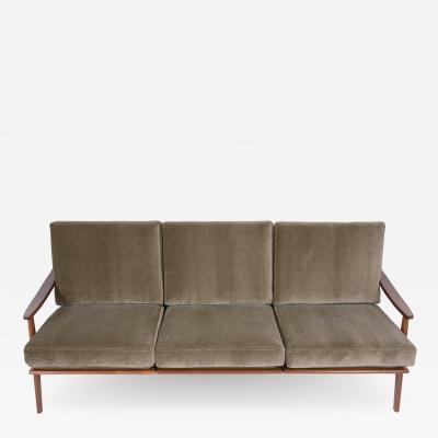 Danish Mid Century Modern Green Sofa