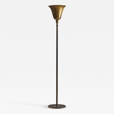 Danish Mid Century Uplight Floor Lamp in Brass Denmark 1940s