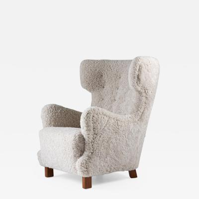 Danish Mid century Lounge Chair in Sheepskin 1940s