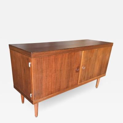 Danish Modern Credenza Cabinet w Fancy Hinges and Sculpted Pig Nose Pulls