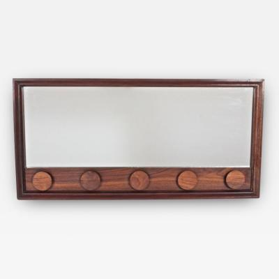 Danish Modern Rosewood Mirror with Rosewood Appliques C 1960