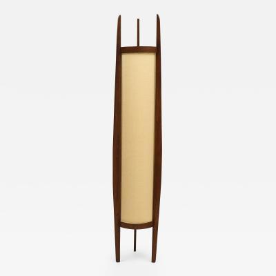 Danish Modern Sculptural Teak and Linen Floor Lamp