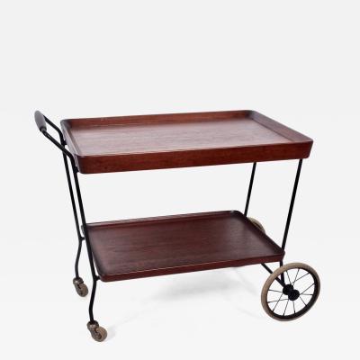 Danish Modern Teak Two Tier Rolling Cart 1950s