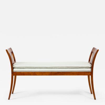 Danish Neoclassical Inlaid Birchwood Window Seat 19th Century