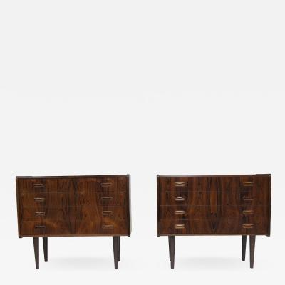 Danish Rosewood Nightstands Cabinets a Pair