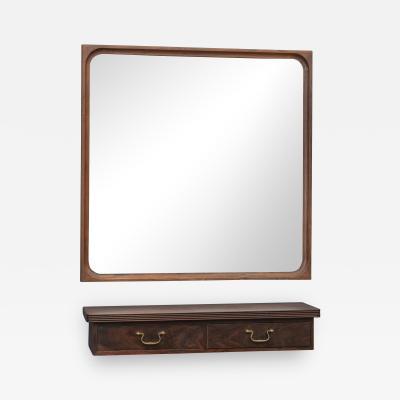 Danish Rosewood Wall Mirror and Matching Shelf