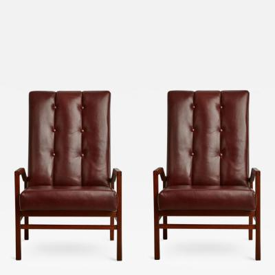 Danish Teak and Tufted Leather Pair of Armchairs circa 1960 Restored