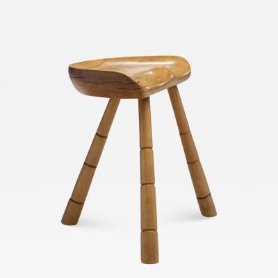 Danish Wooden Tripod Milking Stool Denmark 1940s
