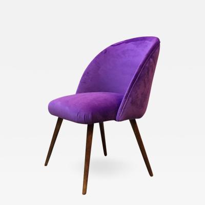 Danish armchair with beech legs and purple velvet upholstery 1960s