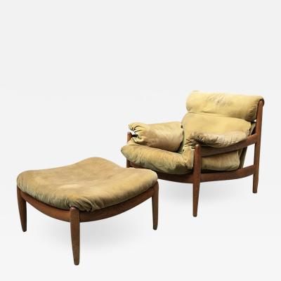 Danish armchair with pouf 1960
