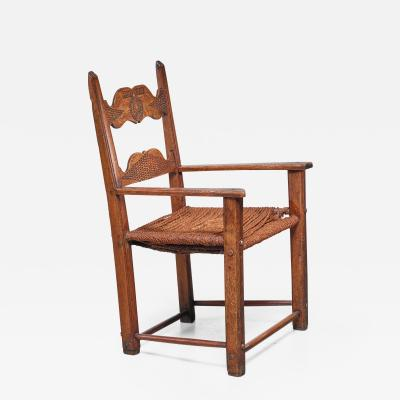 Danish carved oak armchair dated 1808