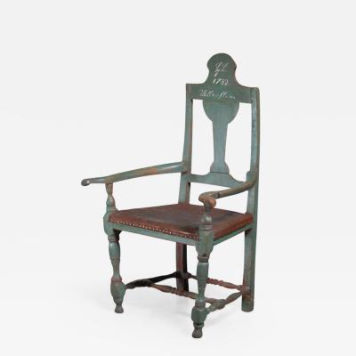 Danish folk art chair from 1782