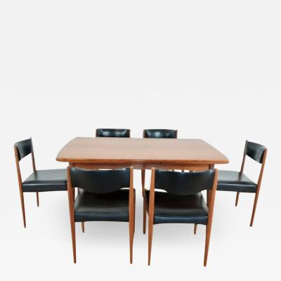 Danish mid century teak extendable dining table and six chairs