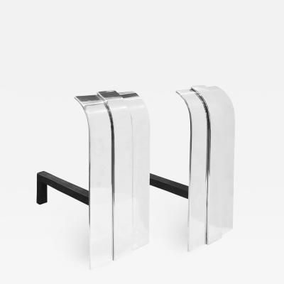 Danny Alessandro Danny Alessandro Pair of Beautiful Andirons in Polished Steel 1980s