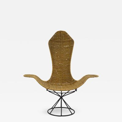 Danny Ho Fong Danny Ho Fong Wave Chair for Tropi Cal Rattan and Steel 1960s