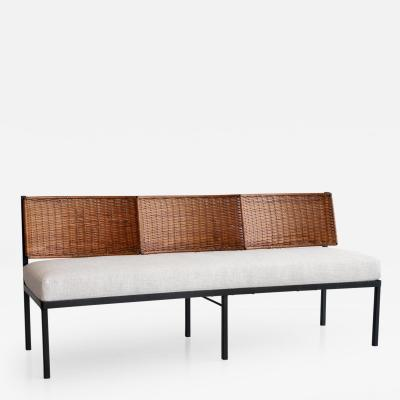Danny Ho Fong Danny Ho Fong Wicker and Linen Bench Pair Available