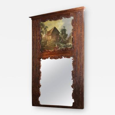 Dark Stained Oak Trumeau with Painted Country Scene