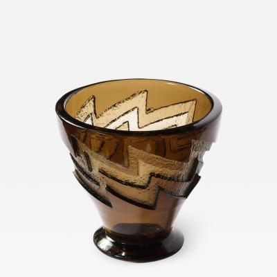 Daum Nancy Art Deco Smoked Glass Vase with Recessed Molded Zig Zag Motif Signed Daum Nancy