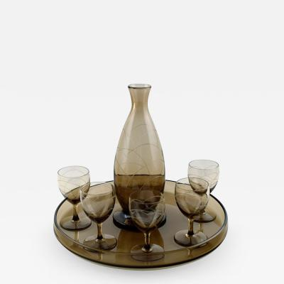 Daum Nancy Art Deco bar set decanter and five glasses on tray
