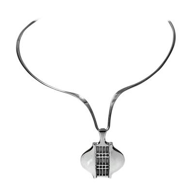 David Andersen Rare Design David Andersen Modernist Sterling Silver Necklace Norway circa 1970