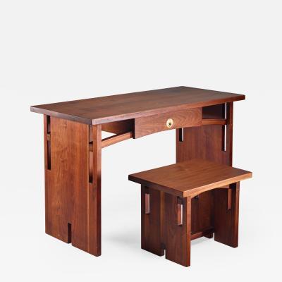 David Barr David Barr Walnut Desk and Matching Stool USA