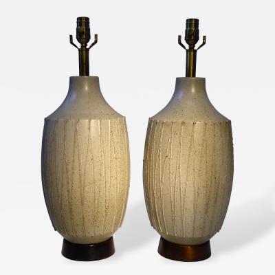 David Cressey Superb Pair of David Cressey Pottery Table Lamps 1960s