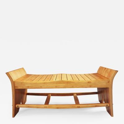 David Ebner Slatted Bamboo Bench by David Ebner