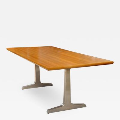 David Ebner Teak and Steel Desk or Table by American Studio Craft Artist David N Ebner