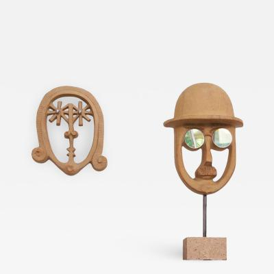 David Gill Bennington Pottery Hanging Woman Face and Standing Man Face by David Gil