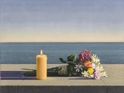 David Ligare Candle and Flowers