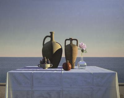 David Ligare Still Life with Figs Pomegranate and Rose