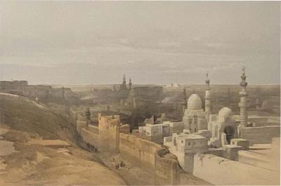 David Roberts Circa 1847 Cairo Looking West Lithograph by David Roberts England