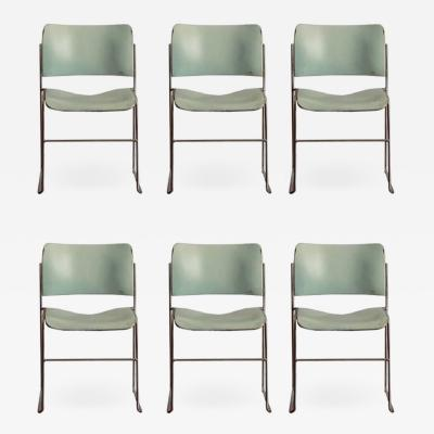 David Rowland Set of Six Teal and Chrome David Rowland 40 4 Stacking Chairs