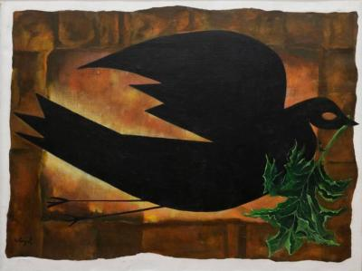 David Segel Dove Holding a Branch Oil Painting by David Segel