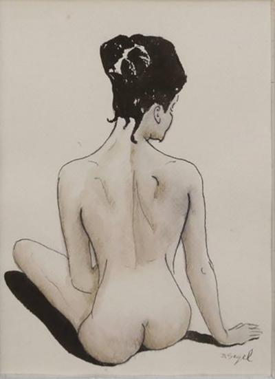 David Segel Female Nude Back Ink and Watercolor Drawing by David Segel
