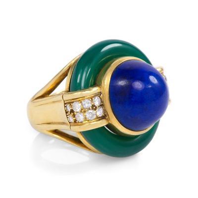 David Webb 1950s David Webb Gold Lapis Chrysoprase and Diamond Ring