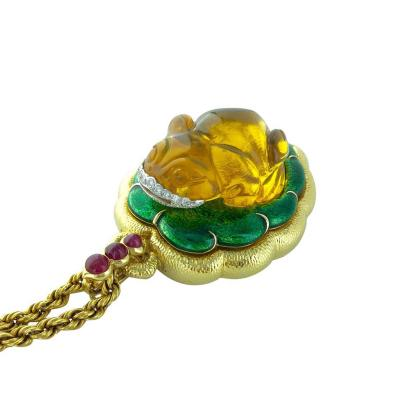 David Webb 1960s David Webb Amber Diamond Ruby Enamel Gold Pendant Necklace