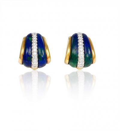 David Webb 1980s David Webb Gold Azurite and Diamond Earrings