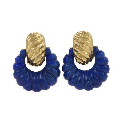 David Webb American Gold and Lapis Hoop Earrings