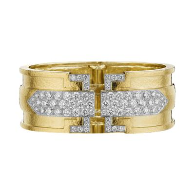 David Webb Contemporary Gold and Diamond Bracelet by David Webb