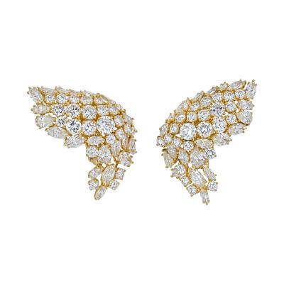 David Webb DAVID WEBB 18K YELLOW GOLD 11 75CTS DIAMOND WING EARRINGS
