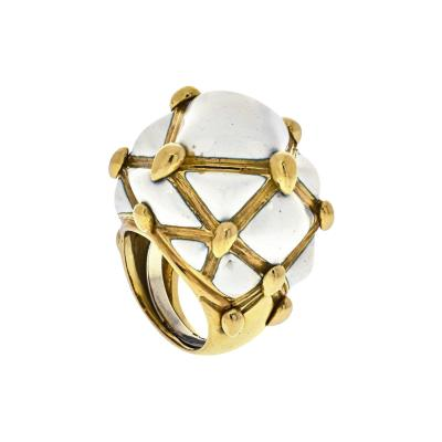 David Webb DAVID WEBB 18K YELLOW GOLD BOMBE WHITE ENAMEL RING