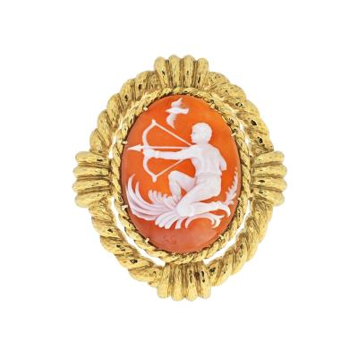 David Webb DAVID WEBB 18K YELLOW GOLD CAMEO SAGITTARIUS BROOCH