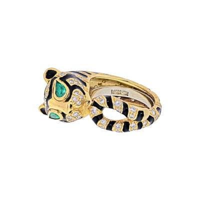 David Webb DAVID WEBB 18K YELLOW GOLD DIAMONDS EMERALDS BLACK ENAMEL TIGER RING