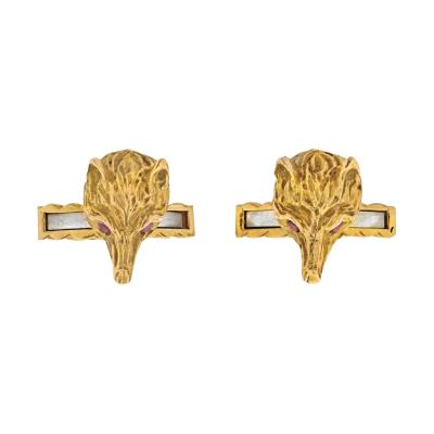 David Webb DAVID WEBB 18K YELLOW GOLD FOXES CUFF LINKS