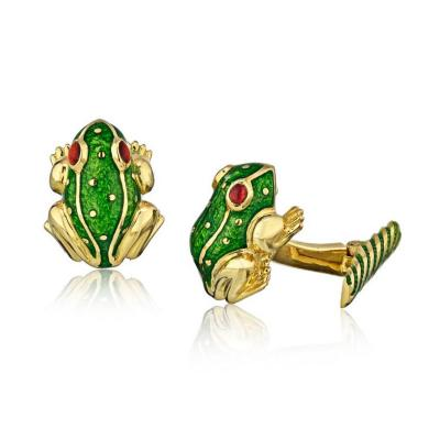 David Webb DAVID WEBB 18K YELLOW GOLD FROG GREEN ENAMEL RUBY EYES CUFF LINKS